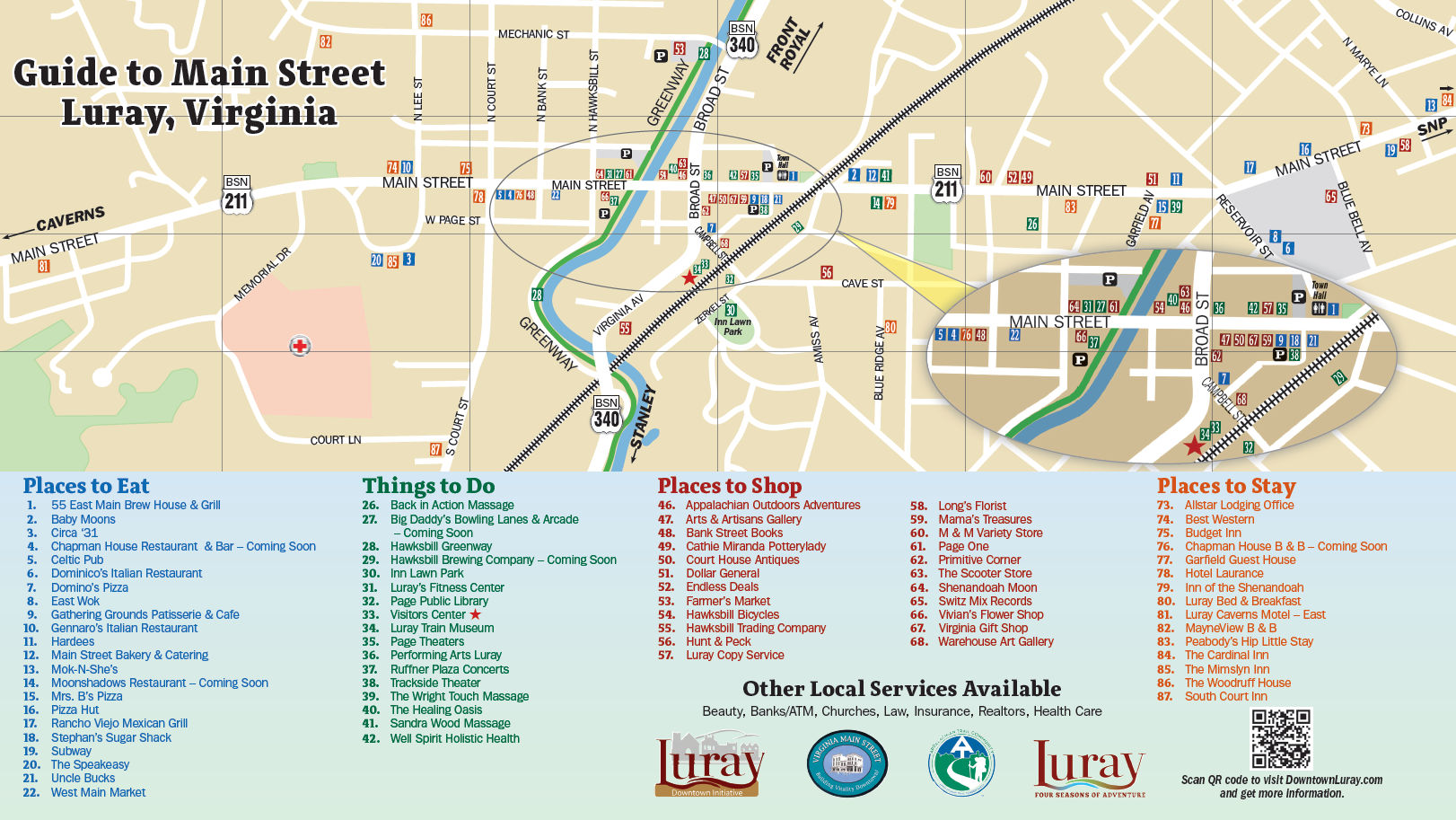 illustration Downtown Luray Visitor Map - Click to view full size image