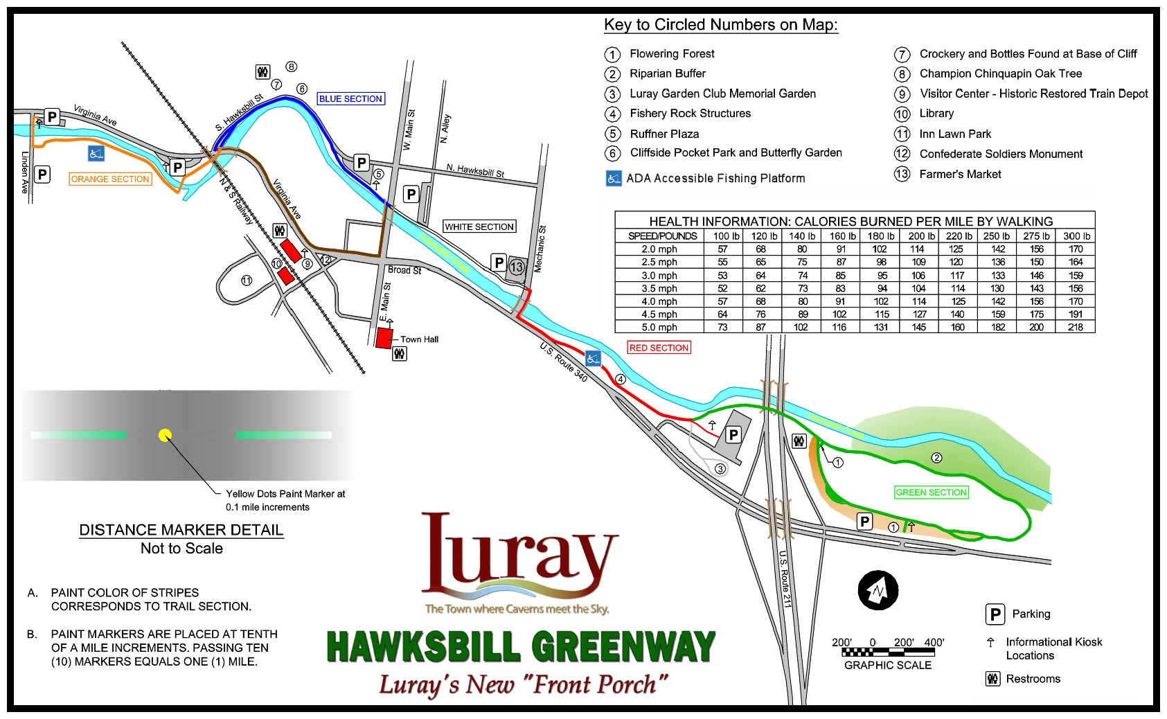illustration Luray Hawksbill Greenway Trail Map - Click to view full size image