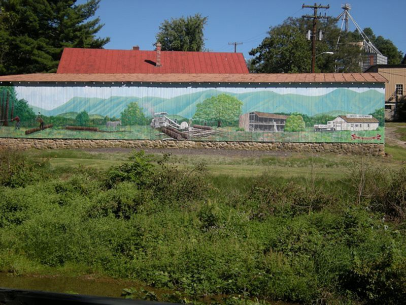 Wood Mill Mural on Hawksbill Greenway Barn Luray VA