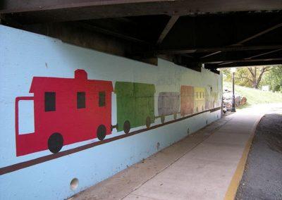 Bridge Train Mural on Hawksbill Greenway