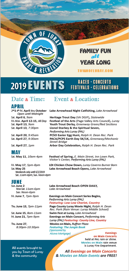 2019 Calendar of Events front